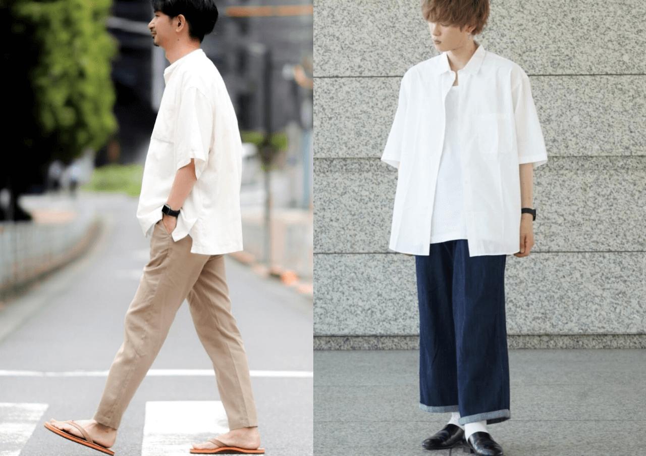 半袖シャツ(白)のメンズの夏コーデ!人気の白の半袖シャツをご紹介!