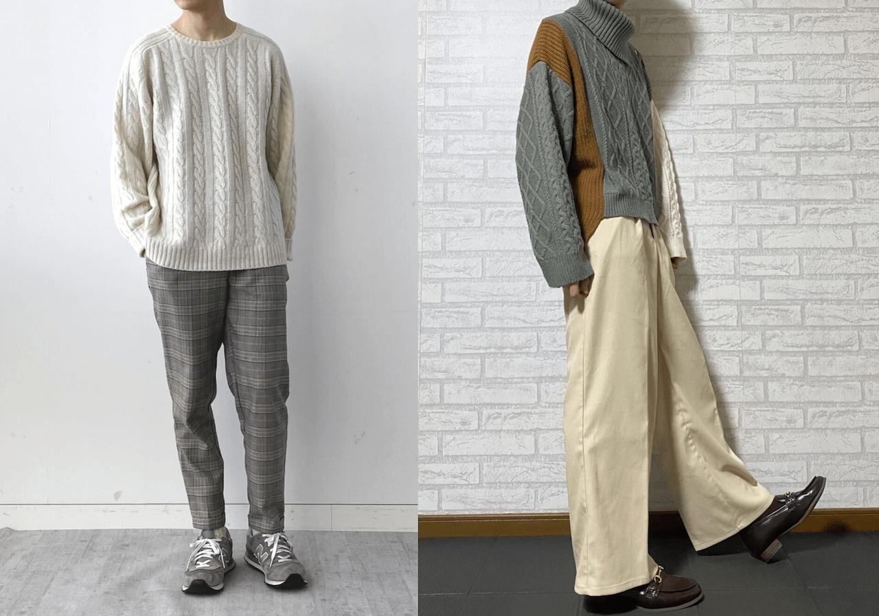 ニット・セーター(ケーブル編み)のメンズの秋のコーデ!人気のケーブル編みニット・セーターはこちら