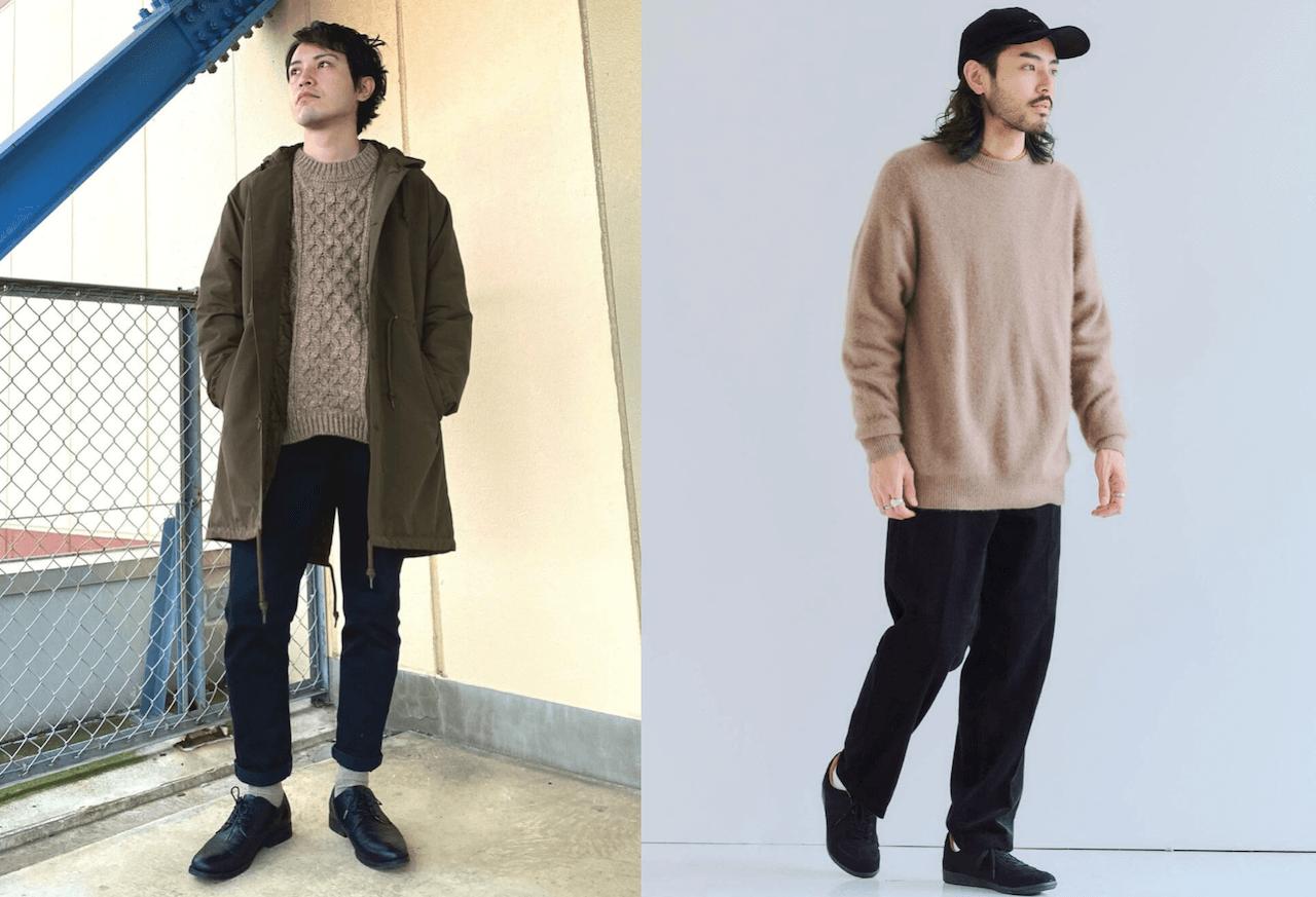 ニット・セーター(ベージュ)のメンズの秋のコーデ!人気のベージュのニット・セーターを紹介!