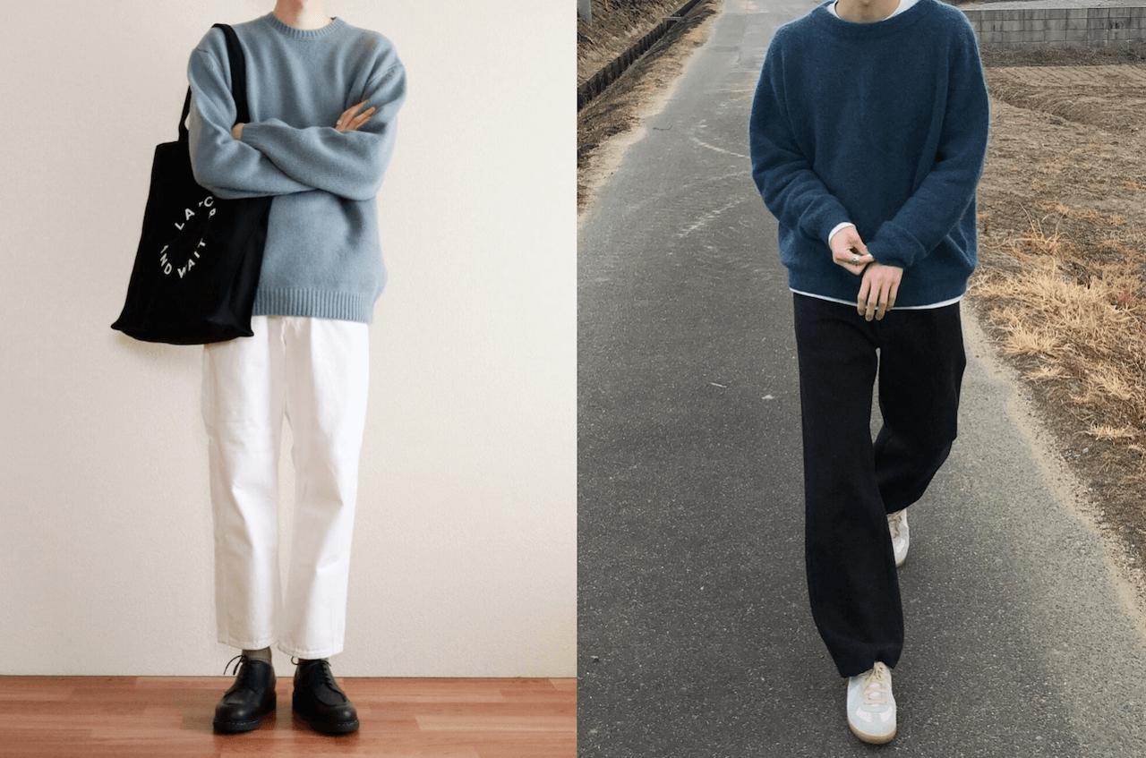 ニット・セーター(青)のメンズの秋のコーデ!人気の青のニット・セーターを紹介!
