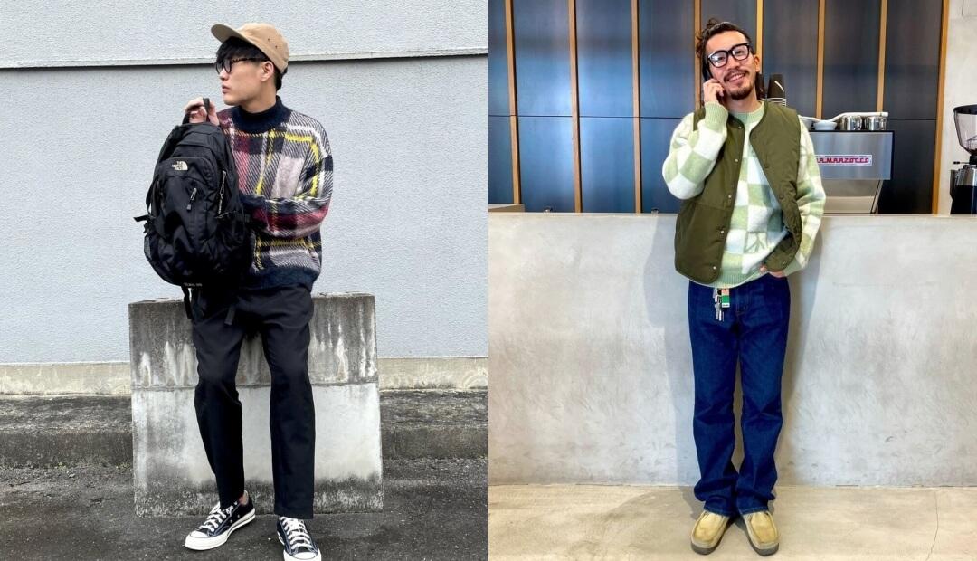 ニット・セーター(チェック)のメンズの秋のコーデ!人気のチェックのニット・セーターを紹介!