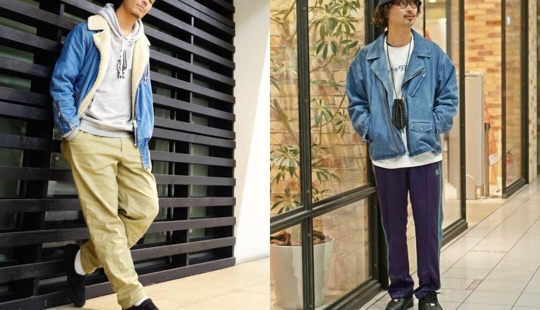 ライダースジャケット(青)の秋冬のコーデ!メンズに人気の青のライダースジャケットを紹介!