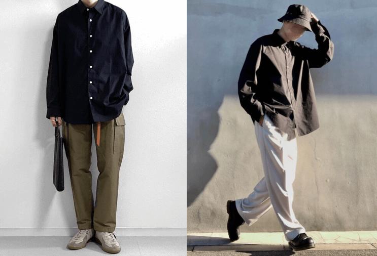 Men's autumn outfit black shirt